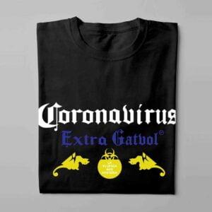 Coronavirus Extra Gatvol Laugh it Off Parody Men's T-shirt - black - folded long