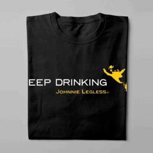 Johnnie Walker Keep Drinking Laugh it Off Parody Men's T-shirt - black - folded long