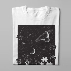 Space Puzzle Illustrated Men's T-shirt - white - folded long