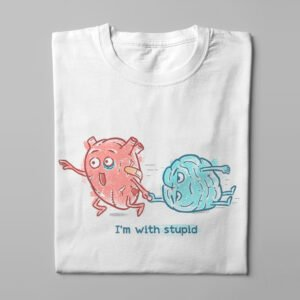 Head and Heart I'm With Stupid Men's T-shirt - white - folded long