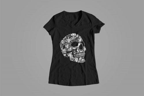 Horrorween Gamma-Ray Graphic Design Ladies' Tee - black