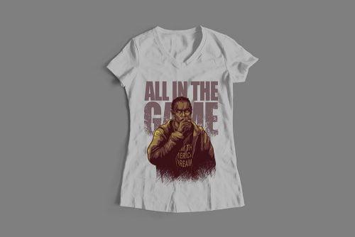 Omar Little The Wire Fan Art Ladies' T-shirt - cement