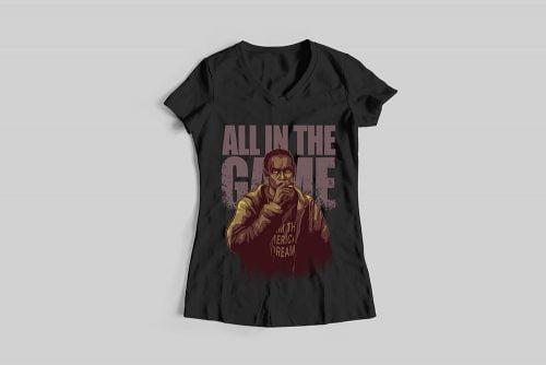 Omar Little The Wire Fan Art Ladies' T-shirt - black